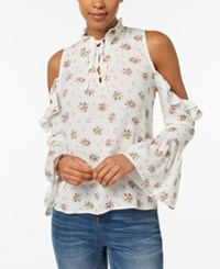 Buffalo David Bitton Floral Print Cold Shoulder Top Dune Small Floral