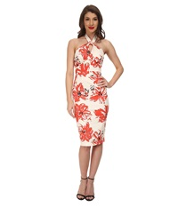 Stop Staring Acacia Fitted Dress Coral Floral Women's Dress Pink