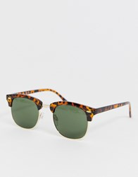 Selected Homme Eco Friendly Retro Sunglasses In Tortoiseshell Brown
