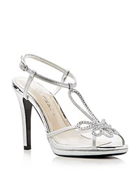 Caparros Claudia Metallic Platform High Heel Sandals Silver