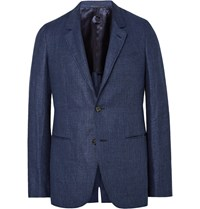 Caruso Blue Butterfly Linen And Wool Blend Blazer Navy