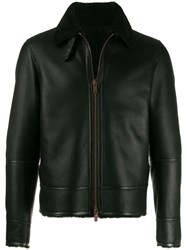 Tagliatore Shearling Collar Jacket Black