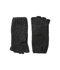 Calvin Klein Asymmetric Moss Stitch Fingerless Gloves Charcoal Extreme Cold Weather Gloves Gray