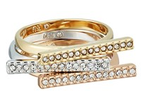 Rebecca Minkoff Tri Color Bar Stackable Rings 12K Imitation Rhodium Rose Gold With Crystal Ring