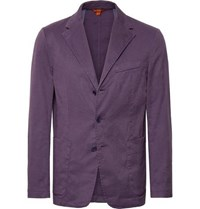 Barena Purple Slim Fit Unstructured Stretch Linen And Cotton Blend Blazer Purple