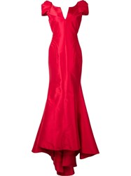 Zac Posen Shortsleeved Gown Red