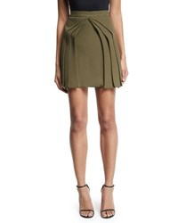 Brandon Maxwell Layered Silk Mini Skirt Olive