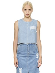 Steve J And Yoni P Sleeveless Cropped Cotton Denim Top