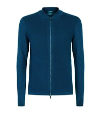 Boss Inat Ribbed Front Cardigan Male Blue