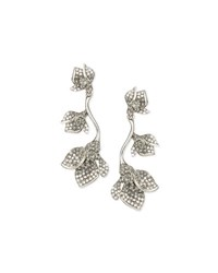 Oscar De La Renta Gradient Crystal Flower Drop Earrings Black Black Diamond