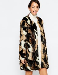 Traffic People Embrace Jacket In Faux Fur Multi