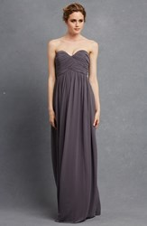 Women's Donna Morgan 'Laura' Strapless Ruched Chiffon Gown Charcoal