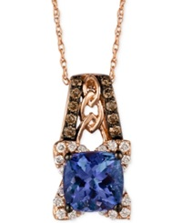 Le Vian Blueberry Tanzanite 1 3 8 Ct. T.W. And Diamond 1 3 Ct. T.W. Pendant Necklace In 14K Rose Gold
