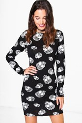Boohoo Jenny Skull Print Bodycon Dress Black