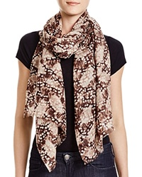 Aqua Feather Print Scarf Beige