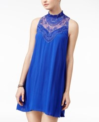 City Studios Triangles Juniors' Embroidered Shift Dress Royal Blue