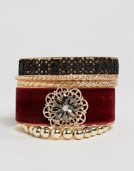 New Look Velvet And Lace Bangle Set Red