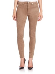 7 For All Mankind Faux Suede High Rise Snakeskin Print Ankle Skinny Jeans Mocha
