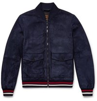Tod's Suede Bomber Jacket Navy
