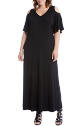 Karen Kane Plus Size Women's Cold Shoulder A Line Maxi Dress Black