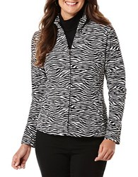 Rafaella Animal Print Fleece Jacket Black Zebra