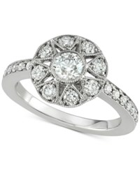 Marchesa Diamond Floral Engagement Ring 1 Ct. T.W. In 18K White Gold Created For Macy's