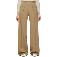 Max Mara Tan Wool Wide Leg Trousers