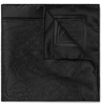 Berluti Scritto Mulberry Silk Jacquard Pocket Square Black