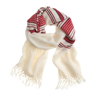 J.Crew Embroidered Wool Scarf Electric Red