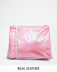 American Apparel Lilah Exclusive To Asos Leather Double Pouch Across Body Bag Lilac And Metallic Pink Lavendargrappink