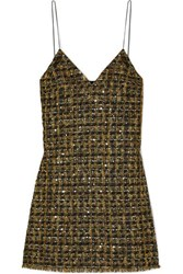 Balmain Sequined Metallic Tweed Mini Dress Black