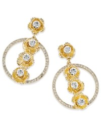 Thalia Sodi Gold Tone Flower Pave Circle Hoop Drop Earrings Only At Macy's