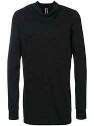 Rick Owens Funnel V Neck Detail Jumper Men Silk Cotton Xs Black
