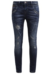 Mos Mosh Linton Slim Fit Jeans Blue Vintage Destroyed Denim