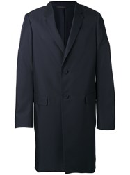 Calvin Klein Collection Single Breasted Coat Men Silk Cupro 50 Blue