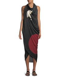 Urban Zen Abstract Brushstroke Print Silk Scarf Dress Black White