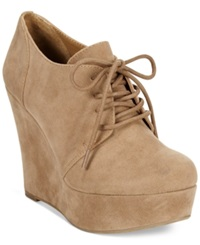 Material Girl Danity Lace Up Platform Wedge Booties Women's Shoes Tan