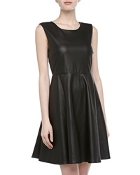 Romeo And Juliet Couture Faux Leather Fit And Flare Dress Black