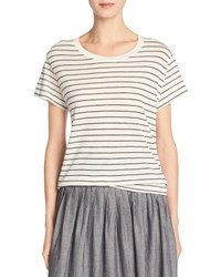 Vince Classic Stripe Relaxed Pima Cotton Tee Vanilla Black