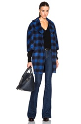 Thakoon Addition Button Front Coat In Blue Checkered And Plaid