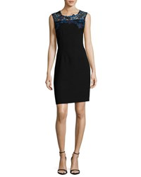 Elie Tahari Blake Sleeveless Lace Yoke Sheath Dress Black