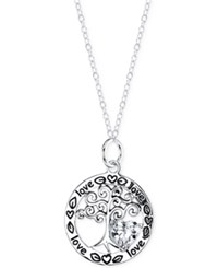 Macy's Inspirational Heart Cubic Zirconia Love Of Family Circle Pendant Necklace In Sterling Silver No Color