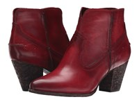 Frye Renee Seam Short Burgundy Washed Antique Pull Up Cowboy Boots Red