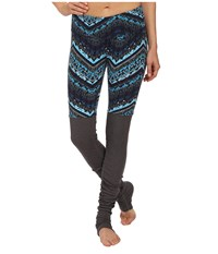 Alo Yoga Goddess Ribbed Legging Seaport Blue Islandic Print Stormy Heather Women's Workout