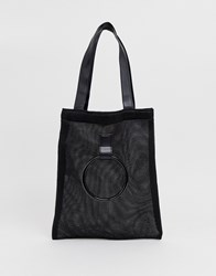 French Connection Mesh Shoppers Tote With Grab Handle Black