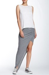Pam And Gela Asymmetrical Ruched Maxi Skirt Gray