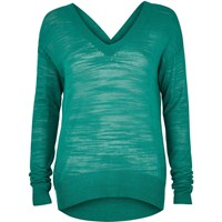River Island Womens Green Slouchy Knit V Neck Jumper