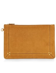 Jerome Dreyfuss Mustard Goatskin Leather Clutch Bag Yellow