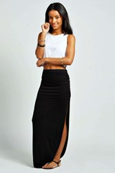 Boohoo Ruched Side Jersey Maxi Skirt Black