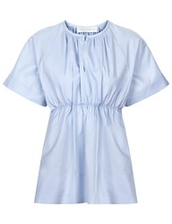 Victoria Beckham Pale Blue Poplin Empire Top